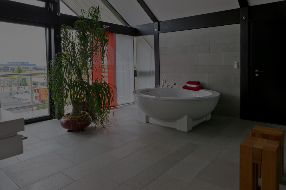 bathroom with stunning floor tiles