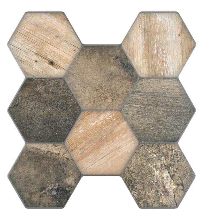 Vesta wood hexagonal wall and floor tile 45x45 - Tiles 2 ...