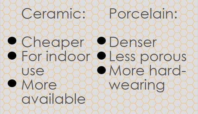 Differences between ceramic tiles and porcelain tiles - Tiles 2 Go Ltd